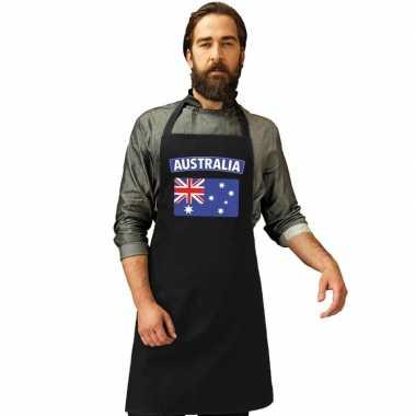 Australische vlag keukenschort/ barbecueschort zwart heren en dames
