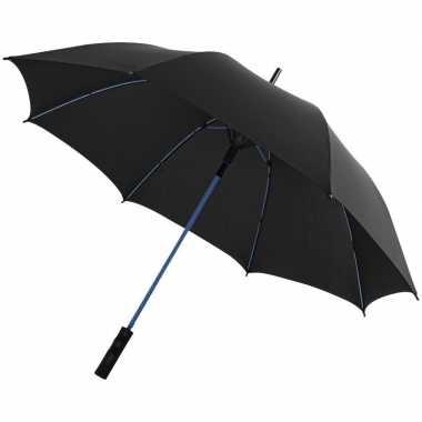 Automatische zwart/blauwe stormparaplu 58 cm