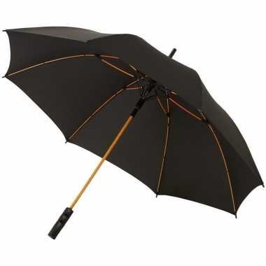 Automatische zwart/oranje stormparaplu 58 cm