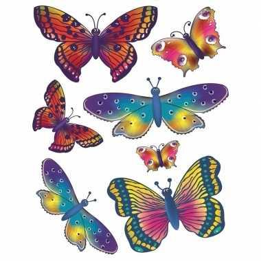 Autoraam stickers gekleurde vlinders
