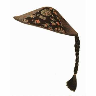 Aziatische zwarte hoed met vlechtje
