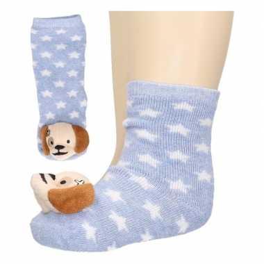 Baby sokjes lichtblauw met hondenkop