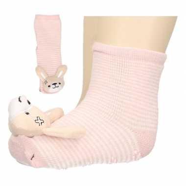 Baby sokjes met konijnenkop