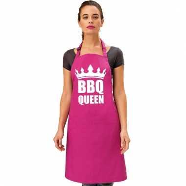 Barbecueschort bbq queen roze dames