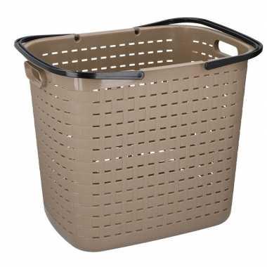 Beige hoge kunststof wasgoed mand 45 liter