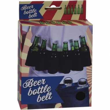 Bierfles riem zwart - vrijgezellen feest artikelen