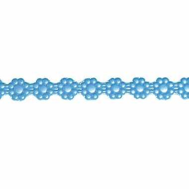 Blauw bloemen lintje voor op een kaars 24 x 1 cm