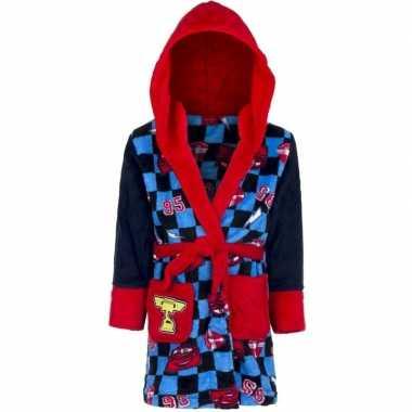 Blauw/rode disney cars ochtendjas met capuchon voor jongens