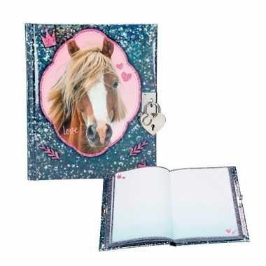 Blauw roze dagboek paard met slotje