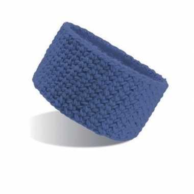 Blauwe acryl ski hoofdband voor dames