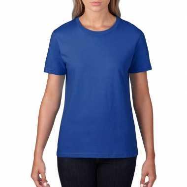 Blauwe dames casual t-shirts met ronde hals