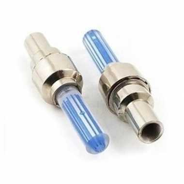 Blauwe fietslampjes set voor fietsventiel 2 stuks