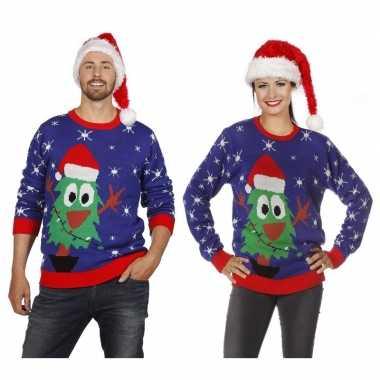Blauwe kerst sweater met kerstboom voor volwassenen