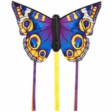 Blauwe vlinder speel vlieger 52 x 34 cm en 2 staarten