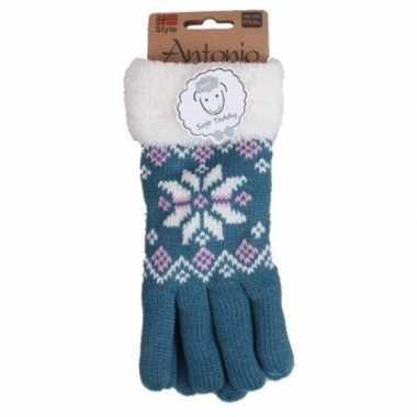 Blauwe winterhandschoenen nordic voor dames