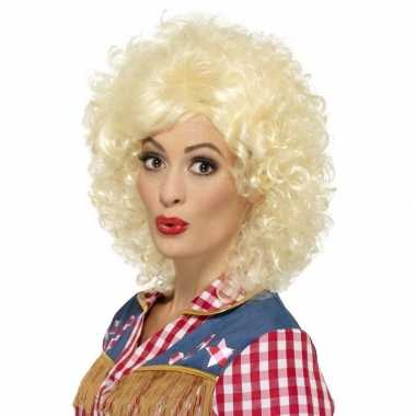 Blonde dolly parton look-a-like country pruik voor dames