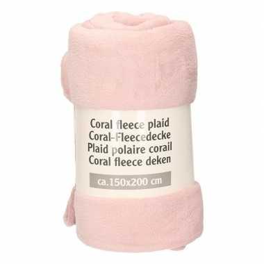Blossem roze warme fleece deken 150 x 200 cm