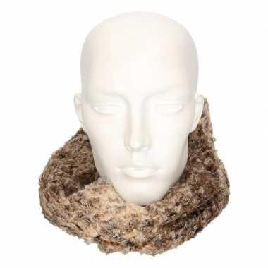 Bruin/luipaard fleece ronde col sjaal voor volwassenen