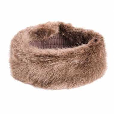 Bruine hoofdband van nepbont voor dames