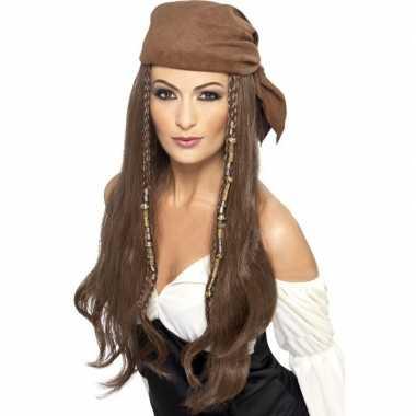 Bruine piratenpruik met kralen voor dames