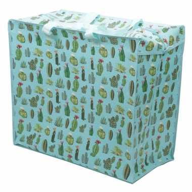 Cactussen print opbergzak 55 x 48 cm speelgoed/knuffels opbergen