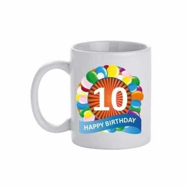Cadeau 10 jaar mok / beker ballon thema