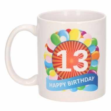 Cadeau 13 jaar mok / beker ballon thema