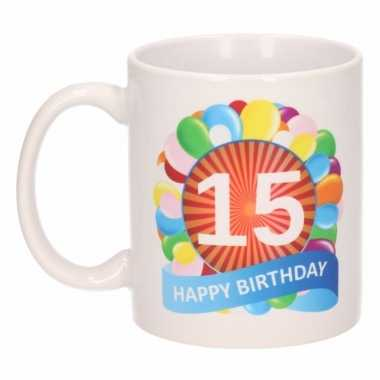 Cadeau 15 jaar mok / beker ballon thema