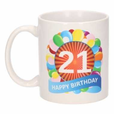 Cadeau 21 jaar mok / beker ballon thema