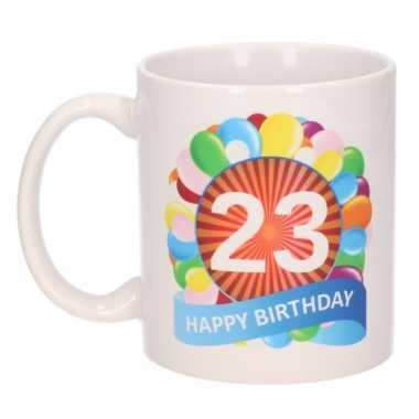 Cadeau 23 jaar mok / beker ballon thema