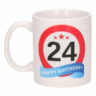 Cadeau 24 jaar mok / beker verkeersbord thema