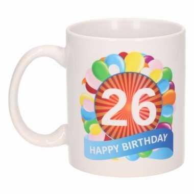 Cadeau 26 jaar mok / beker ballon thema