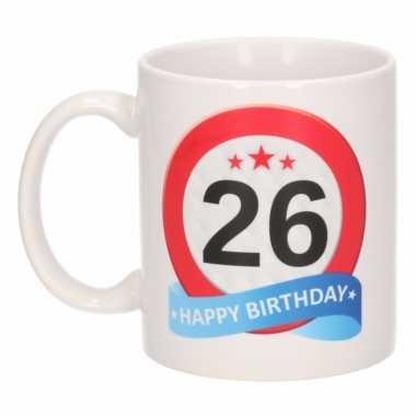 Cadeau 26 jaar mok / beker verkeersbord thema