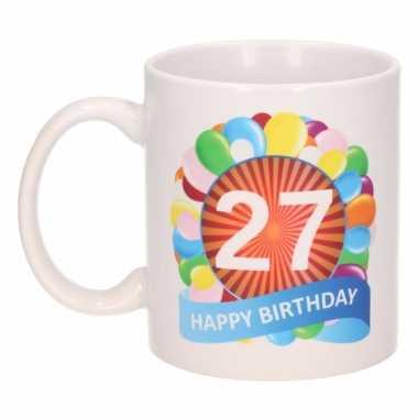 Cadeau 27 jaar mok / beker ballon thema