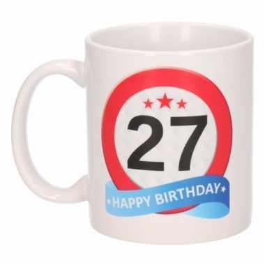 Cadeau 27 jaar mok / beker verkeersbord thema