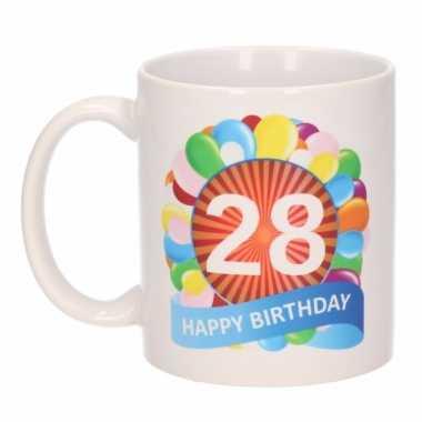 Cadeau 28 jaar mok / beker ballon thema