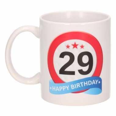 Cadeau 29 jaar mok / beker verkeersbord thema