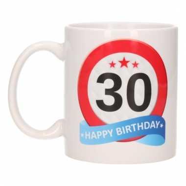 Cadeau 30 jaar mok / beker verkeersbord thema