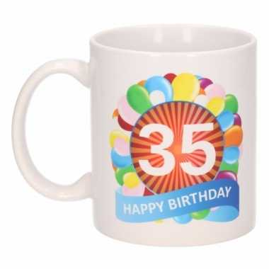 Cadeau 35 jaar mok / beker ballon thema