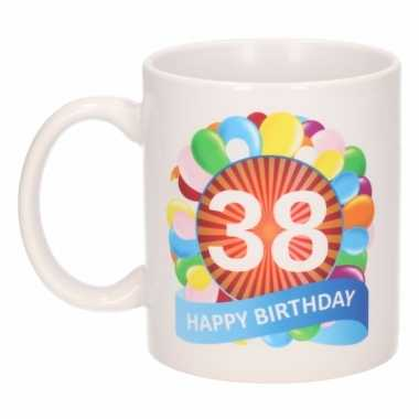 Cadeau 38 jaar mok / beker ballon thema