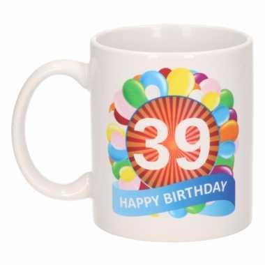 Cadeau 39 jaar mok / beker ballon thema