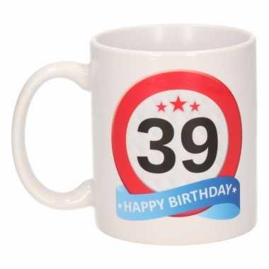 Cadeau 39 jaar mok / beker verkeersbord thema