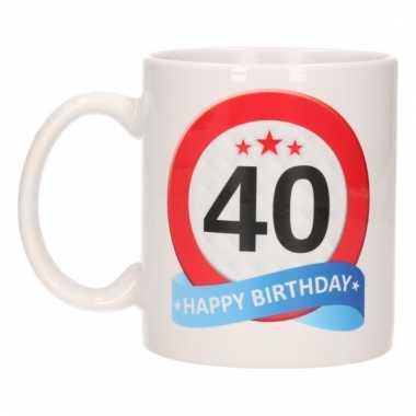 Cadeau 40 jaar mok / beker verkeersbord thema