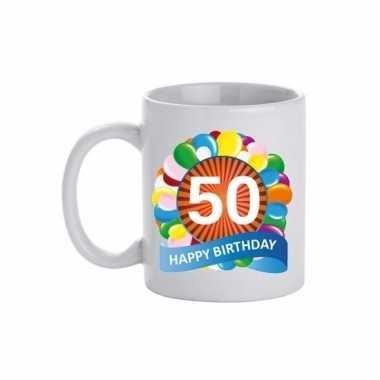 Cadeau 50 jaar mok / beker ballon thema