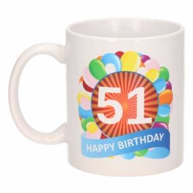 Cadeau 51 jaar mok / beker ballon thema