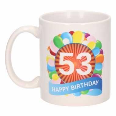 Cadeau 53 jaar mok / beker ballon thema