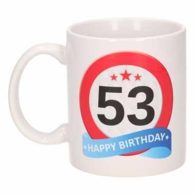 Cadeau 53 jaar mok / beker verkeersbord thema