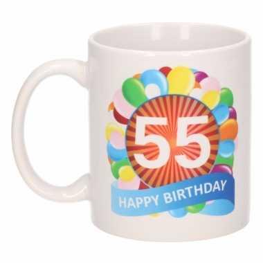 Cadeau 55 jaar mok / beker ballon thema
