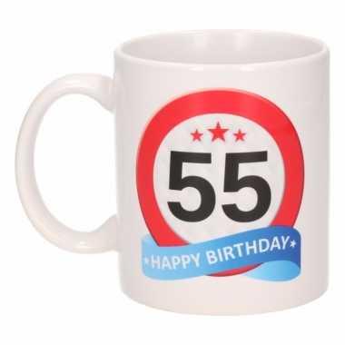 Cadeau 55 jaar mok / beker verkeersbord thema
