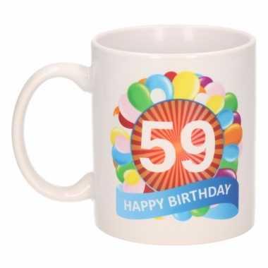 Cadeau 59 jaar mok / beker ballon thema